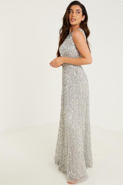 Petite Grey Sequin Maxi Dress